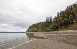 Parc d'état de plage de Joemma à marée basse sur Puget Sound près de Tacoma image libre de droits