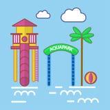 Parc d'Aqua avec l'attraction de glissière et l'affiche colorée de palmier Illustration Libre de Droits