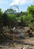 Parc d'attractions abandonné après inondation Image libre de droits
