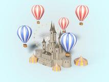 Parc d'attractions, carnaval, foire d'amusement, cirque, festival de scène de jour 3d rendent Photographie stock libre de droits