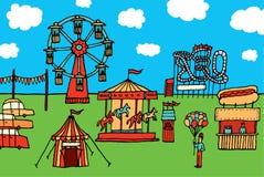 Parc d'attractions de carnaval/de bande dessinée illustration libre de droits