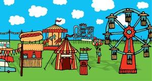 Parc d'attractions drôle de carnaval/de bande dessinée illustration libre de droits