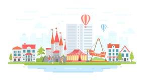 Parc d'attractions - illustration plate moderne de vecteur de style de conception illustration libre de droits