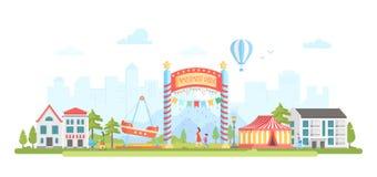 Parc d'attractions - illustration plate moderne de vecteur de style de conception illustration stock