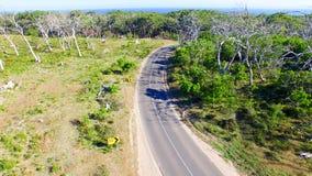 Parc d'Otway Nationa de cap, Australie Silhouette d'homme se recroquevillant d'affaires Image libre de droits