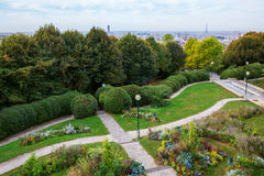 Parc de Belleville in Paris. Aerial view of the Parc de Belleville in Paris, France Stock Images