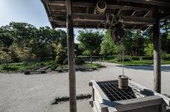 Parc de bord de la mer de Hitachi - les Japonais en bois de style ancien jaillissent photographie stock libre de droits