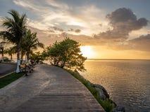 Parc de bord de mer sur l'océan pacifique dans Champoton, Mexique pendant image libre de droits