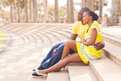 Parc de couples d'afro-américain Photographie stock