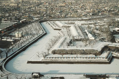 Parc de Goryokaku dans la neige photos stock