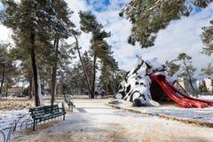 Parc de Jérusalem dans la neige Photographie stock