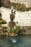 Parc de la Ciutadella喷泉看法,在巴塞罗那,西班牙 图库摄影