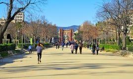 Parc de la Ciutadella in Barcelona,Spain. BARCELONA, SPAIN - DECEMBER 18: Parc de la Ciutadella with Arc de Triomf on December 18, 2011 in Barcelona, Spain. The Royalty Free Stock Image