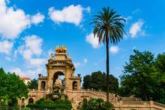 Barcelona, Spain 05 September 2018: Parc de la Ciutadella and its famous stairs. Parc de la Ciutadella and its famous stairs with some people stock images