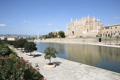 Parc de la Mar, Palma de Mallorca Cathedral, Mallorca, Spain. Looking on the Parc de la Mar and the Cathedral of Palma de Mallorca, Mallorca Spain Stock Photo