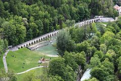 Recreation near Durance river in Briancon, France Royalty Free Stock Photography