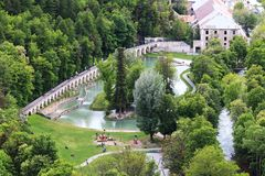 Water recreation near Durance river in Briancon, France Royalty Free Stock Photography
