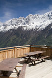 Parc de Merlet. View of Aiguille Du Midi from picnic seats in Parc de Merlet - portrait orientation Royalty Free Stock Photos