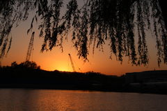 Parc de Pékin Haidian au crépuscule Photographie stock libre de droits