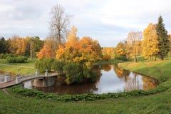 Parc de Pavlovsk à l'automne Panorama Photographie stock