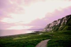 Parc de pays de houe de Samphire près des falaises blanches de Douvres photographie stock libre de droits