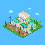 Parc de ville avec le chemin de bicyclette Équitation de famille sur les bicyclettes Image libre de droits