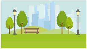 Parc de ville sur le fond des gratte-ciel illustration libre de droits