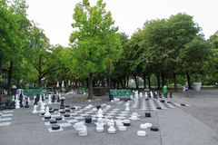 Parc des Bastions in Geneva, Switzerland. Black and white outdoors chess game in Bastions Park, Geneva, Switzerland Stock Images