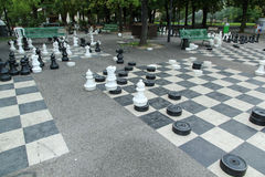 Parc des Bastions in Geneva, Switzerland. Black and white outdoors chess game in Bastions Park, Geneva, Switzerland Stock Photography
