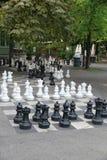 Parc des Bastions in Geneva, Switzerland. Black and white outdoors chess game in Bastions Park, Geneva, Switzerland Stock Photo
