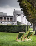 Parc du Cinquantenaire. This arch was built to celebrate the fiftieth anniversary of the independence of Belgium Stock Image