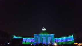 Parc du Cinquantenaire, Blue-Green Color. Celebration of reunification of Germany in Parc du Cinquantenaire in Brussels, Belgium, Europe on 1st October, 2015 royalty free stock images
