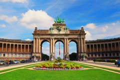 Parc du Cinquantenaire in Brussels. Brussels, Belgium - July 17, 2017: Parc du Cinquantenaire in Brussels on a sunny day. Famous attraction of Belgium Stock Photography