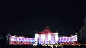 Parc du Cinquantenaire, White-Pink Color. Celebration of reunification of Germany in Parc du Cinquantenaire in Brussels, Belgium, Europe on 1st October, 2015 royalty free stock photo