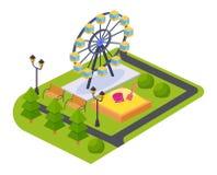 Parc du jeu des enfants des attractions et des divertissements, avec le paysage adjacent illustration libre de droits
