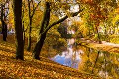 Parc en automne et étang au centre de Riga Photographie stock