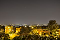 Parc en Bruselas en la noche, altitud 100 Imágenes de archivo libres de regalías