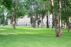 Parc et fleurs verts d'arbres avec le bâtiment jaune photographie stock