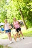 Parc : Femmes marchant en parc Image stock
