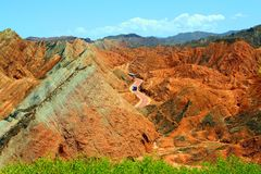 Parc géologique de Danxia, province de Zhangye, Gansu, Chine images libres de droits