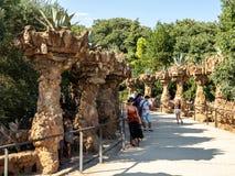 Parc Guell在巴塞罗那,西班牙,建筑师安东尼Gaudi 免版税库存图片