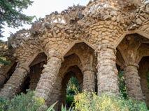 Parc Guell在巴塞罗那,西班牙,建筑师安东尼Gaudi 库存照片