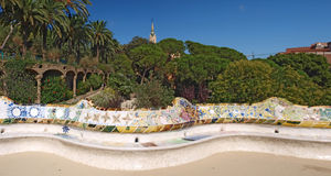 Parc Guell à Barcelone, Espagne Images libres de droits
