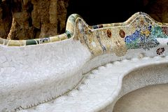 Parc Guell 17, Barcelona, Spain. Mosaic seat in Parc Guell, Barcelona, Spain royalty free stock photography