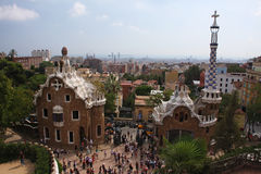 Parc Guell. The Parc Guell in Barcelona, Spain. Its weird and colorful architecture was designed by Gaudi. Parc Guell is one of the touristic highlights of Stock Photo