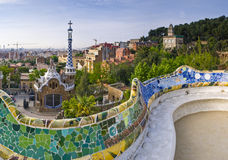 Parc Guell Barcelona. Early morning light on Jubilant public garden overlooking Barcelona Royalty Free Stock Images