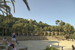 Parc Guell in Barcelona. At good weather stock image