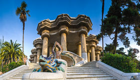 Parc Guell, Barcelona. Magical Parc Guell public garden in Barcelona, designed and built by Guadi and Josep Jujol in 1914 Stock Photo