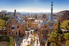 Parc Guell, Barcelona. Park Guell, Barcelona, Catalunya, Spain. The famous Guadi lizard at Parc Guell in Barcelona in the Catalonia region of Spain. Photo taken stock images