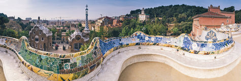 Parc Guell, Barcelona. Parc Guell public garden overlooking Barcelona, designed and built by Guadi and Josep Jujol in 1914 Royalty Free Stock Photo
